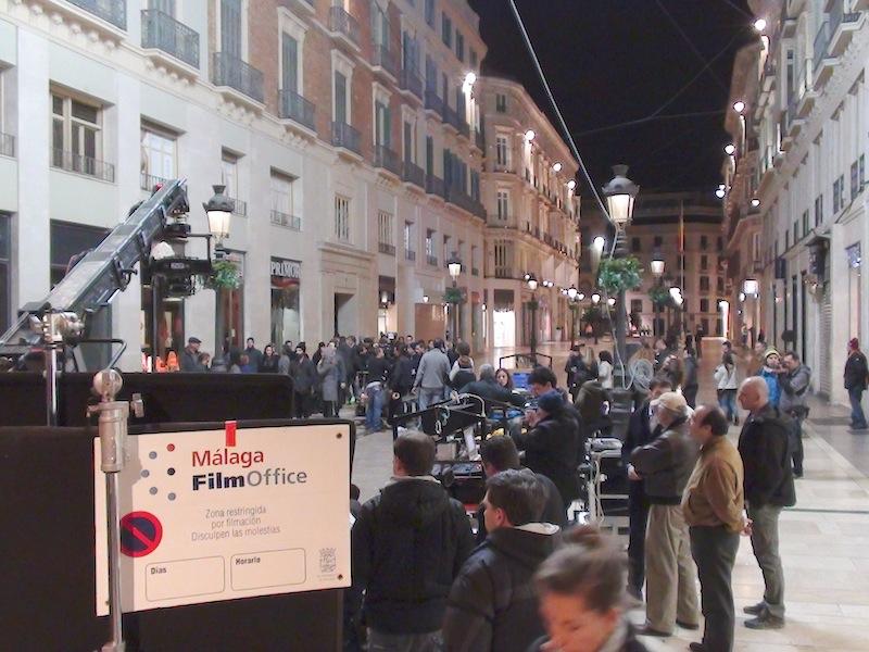 Uno de los rodajes en la céntrica calle Larios. / Málaga Film Office