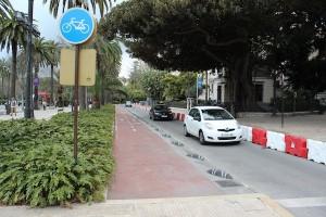 Interrupción del carril en el Parque. / T.M.