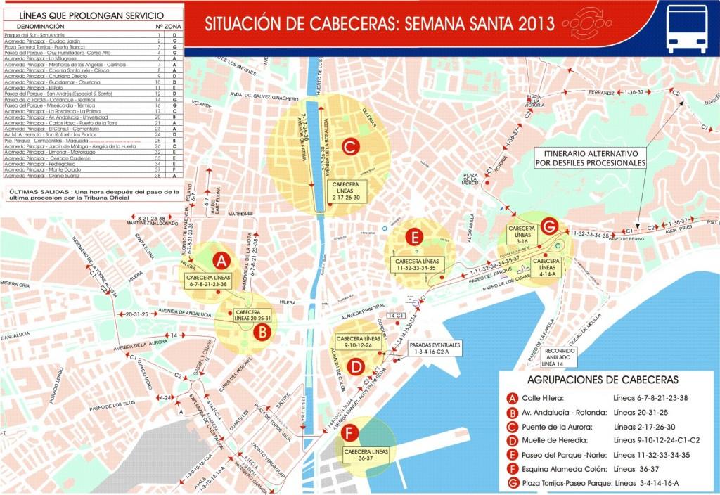 Plano de ubicación de las cabeceras en el centro. / EMT Málaga