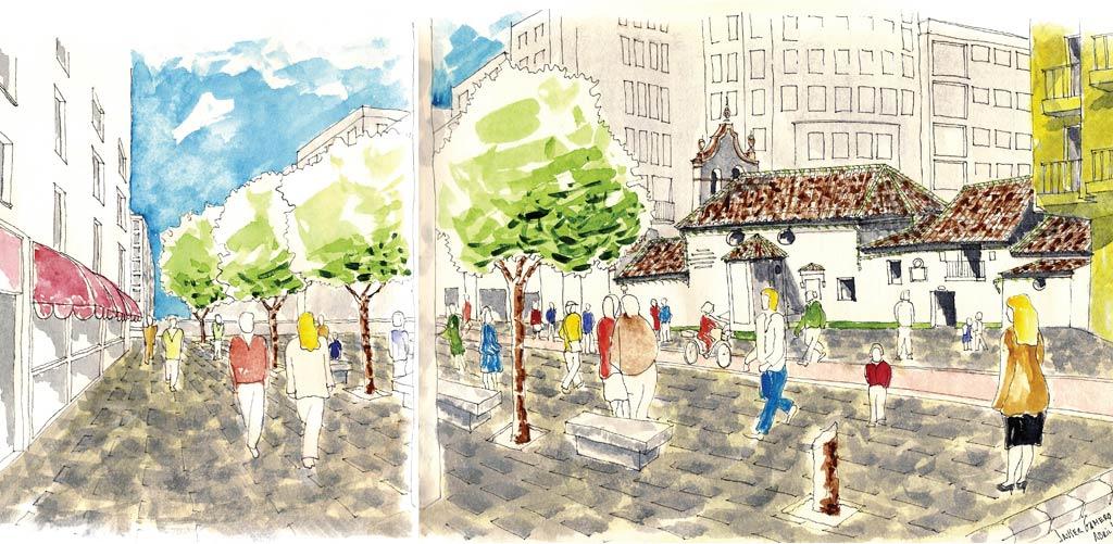 Imagen de la plaza proyectada.
